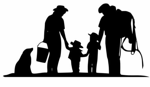 cowboy family silloutte