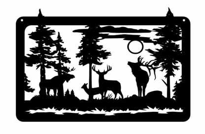 elk deer moose pinetrees  30x20c